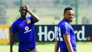 Siphelele Mthembu and Edward Manqele of Kaizer Chiefs