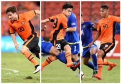 Shannon Brady Joey Caletti Dane Ingham Brisbane Roar v Global FC AFC Champions League 31012017