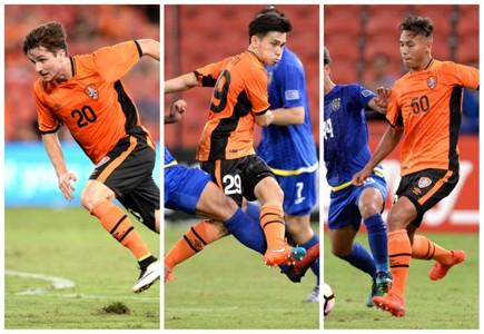 Shannon Brady Joey Caletti Dane Ingham Brisbane Roar v Global FC AFC Champions League 31012017