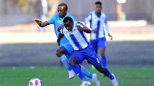 Siphesihle Ndlovu of Maritzburg United is challenged by Thabo Nodada of Cape Town City, August 2018
