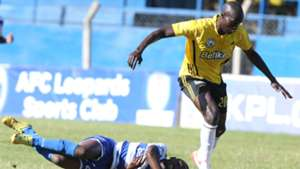 Sofapaka player against AFC Leopards' Bernard Mang'oli