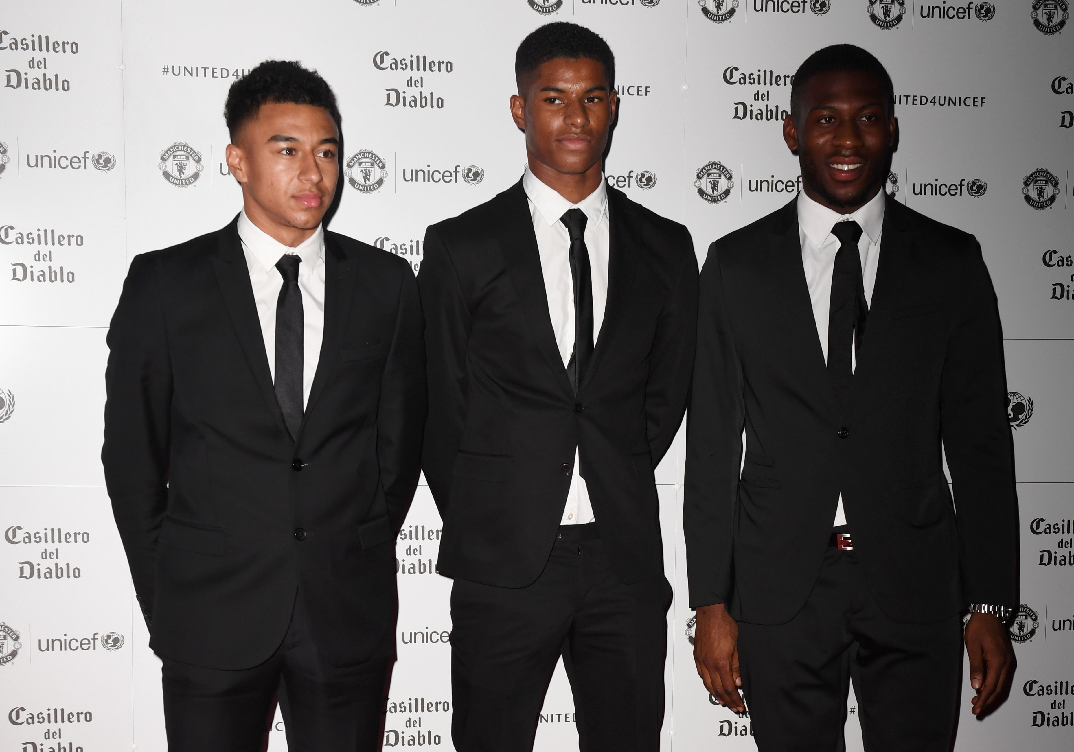 Jesse Lingard Marcus Rashford Timothy Fosu-Mensah Manchester United