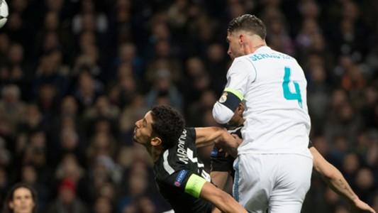Sergio Ramos Marquinhos Real Madrid PSG Champions League 14022018