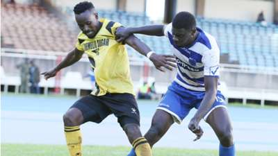Collins Neto (L) of Chemelil Sugar and Salim Abdallah of AFC Leopards
