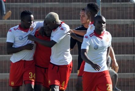 Petros Ngebo of Highlands Park celebrates a goal