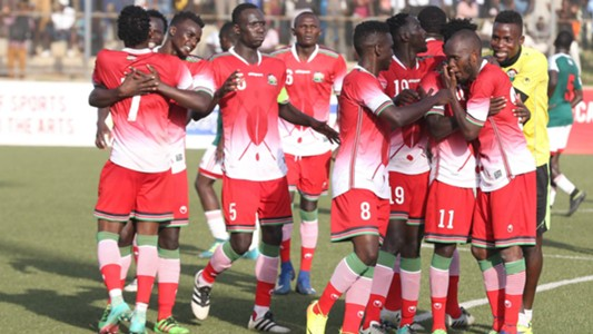 Harambee Stars players celebrate.