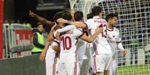 Milan players celebrating Cagliari Milan Serie A