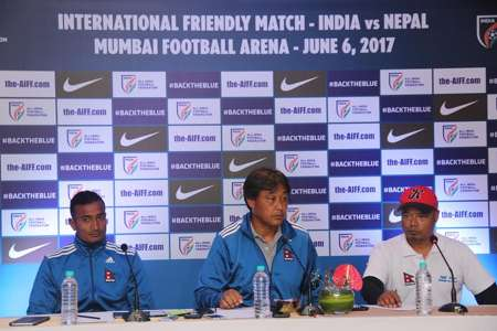 Nepal captain Biraj Maharjan and head coach Koji Gyotoku