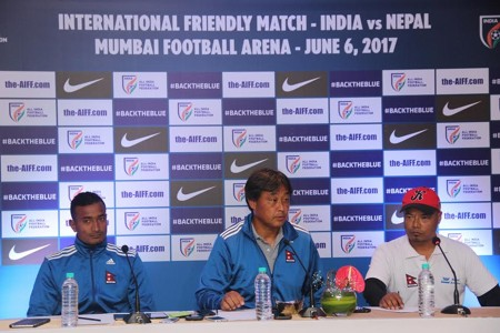 Nepal captain Biraj Maharjan and head coach Koji Gyotoku