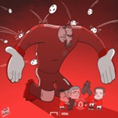 Cartoon De Gea saves Manchester United