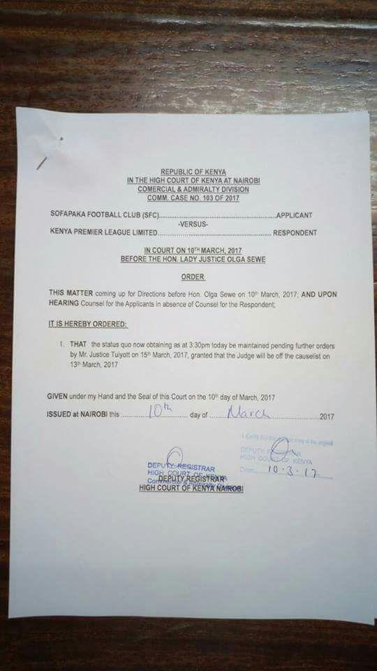 Sofapaka court order