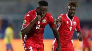 Michael Olunga of Kenya celebrates goal with John Avire.