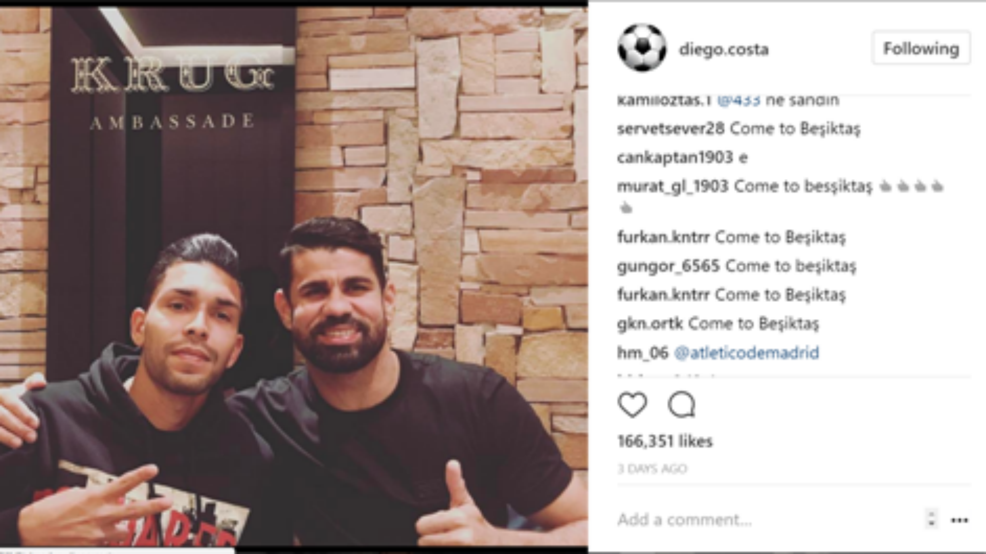 Diego Costa Besiktas fans