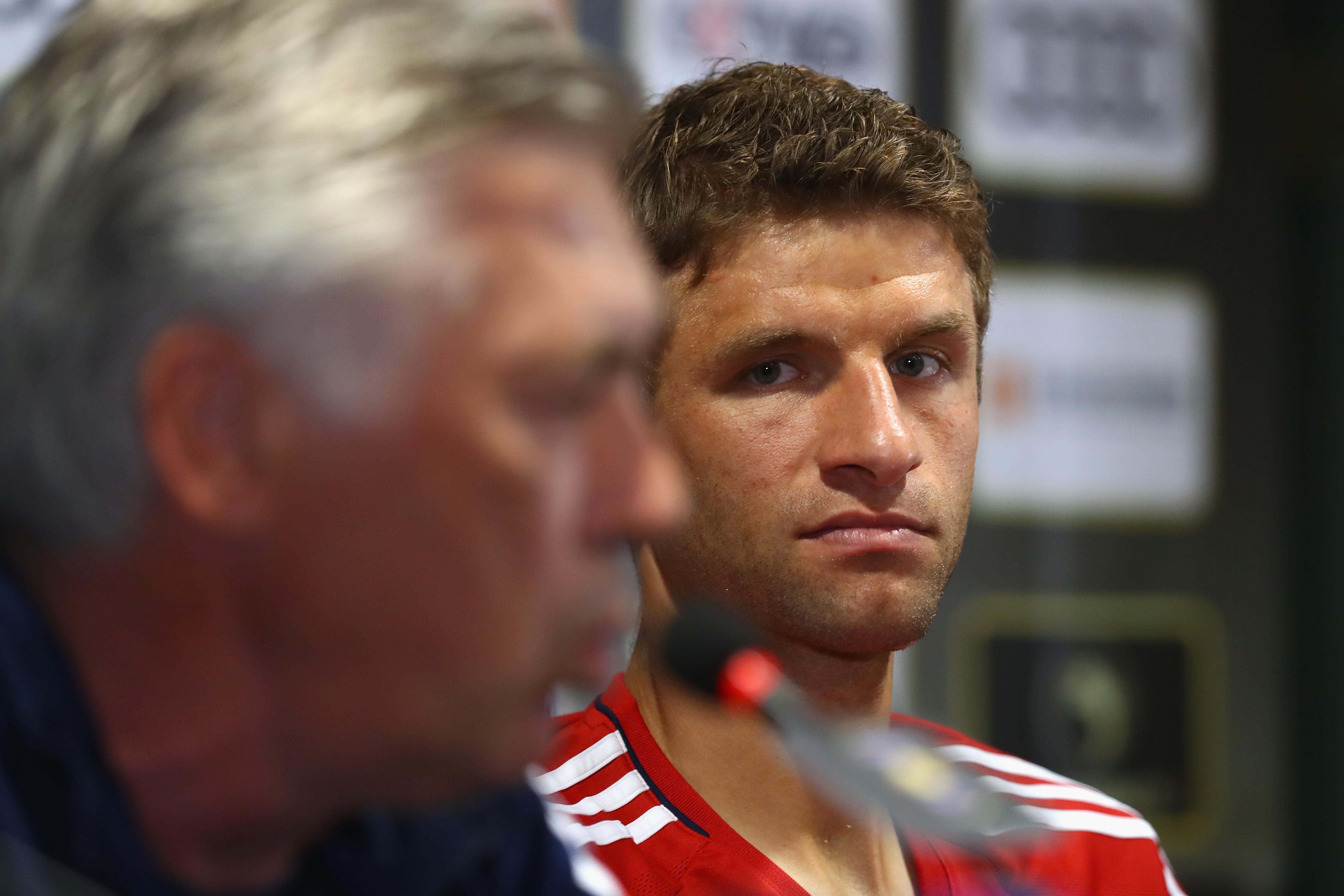 *NO GALLERY* Carlo Ancelotti Thomas Müller FC Bayern München