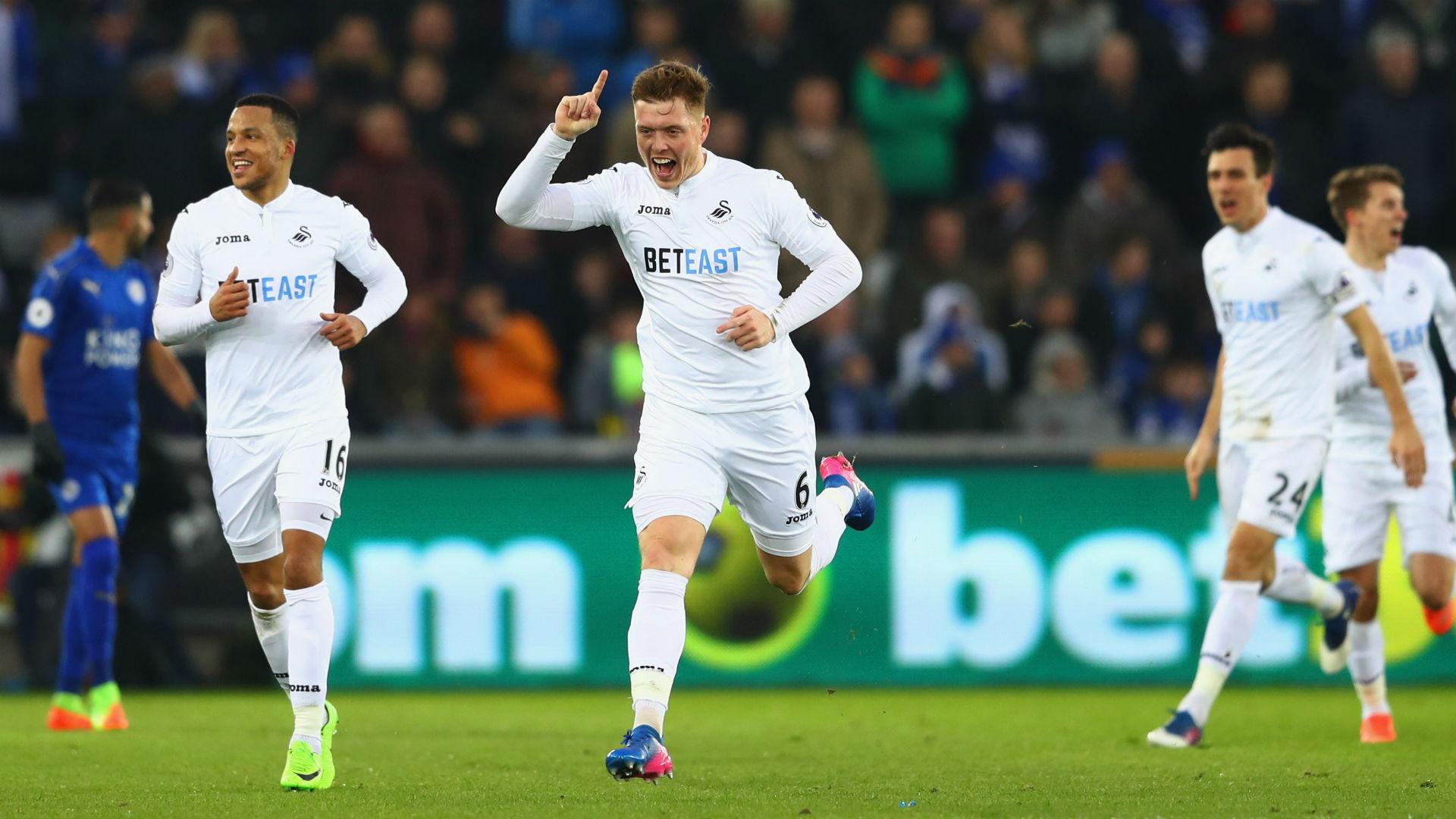 Swansea Leicester Alfie Mawson