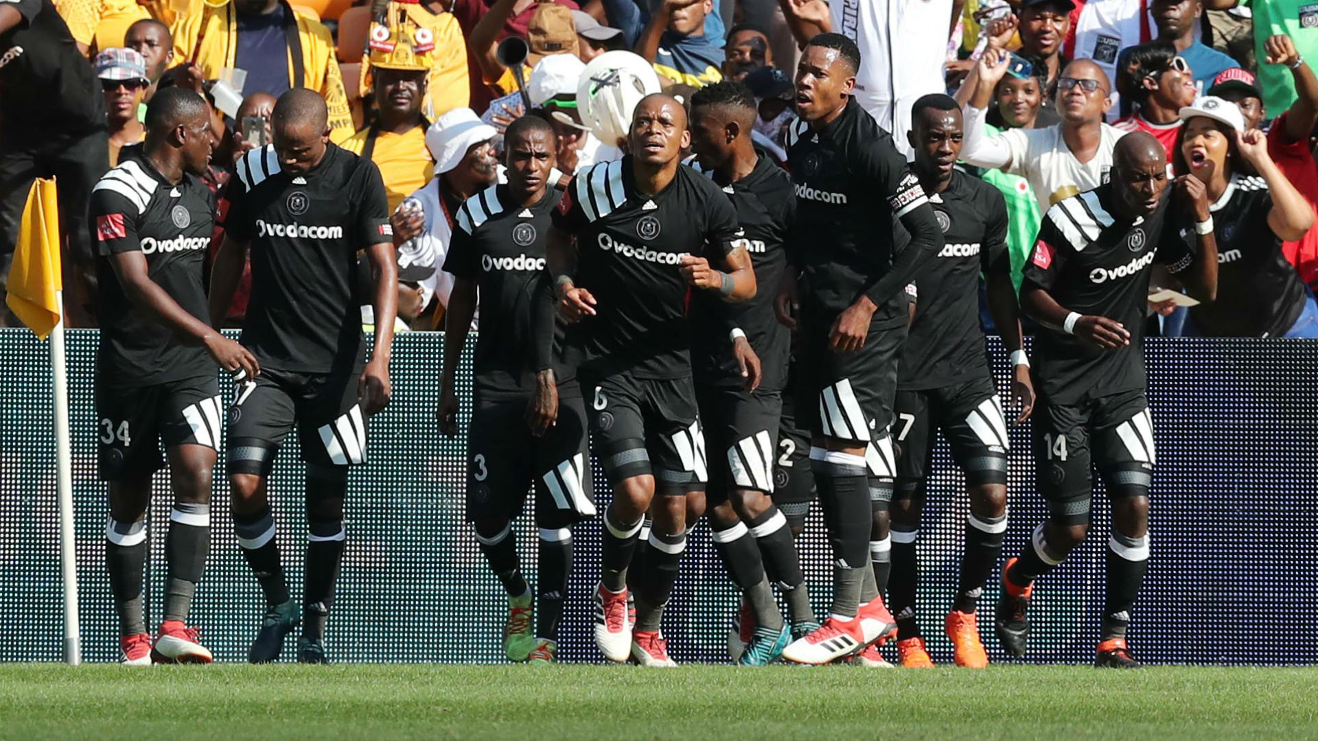 Orlando Pirates players celebrate Thembinkosi Lorch's goal