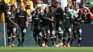 Orlando Pirates players celebrate Thembinkosi Lorch's goal