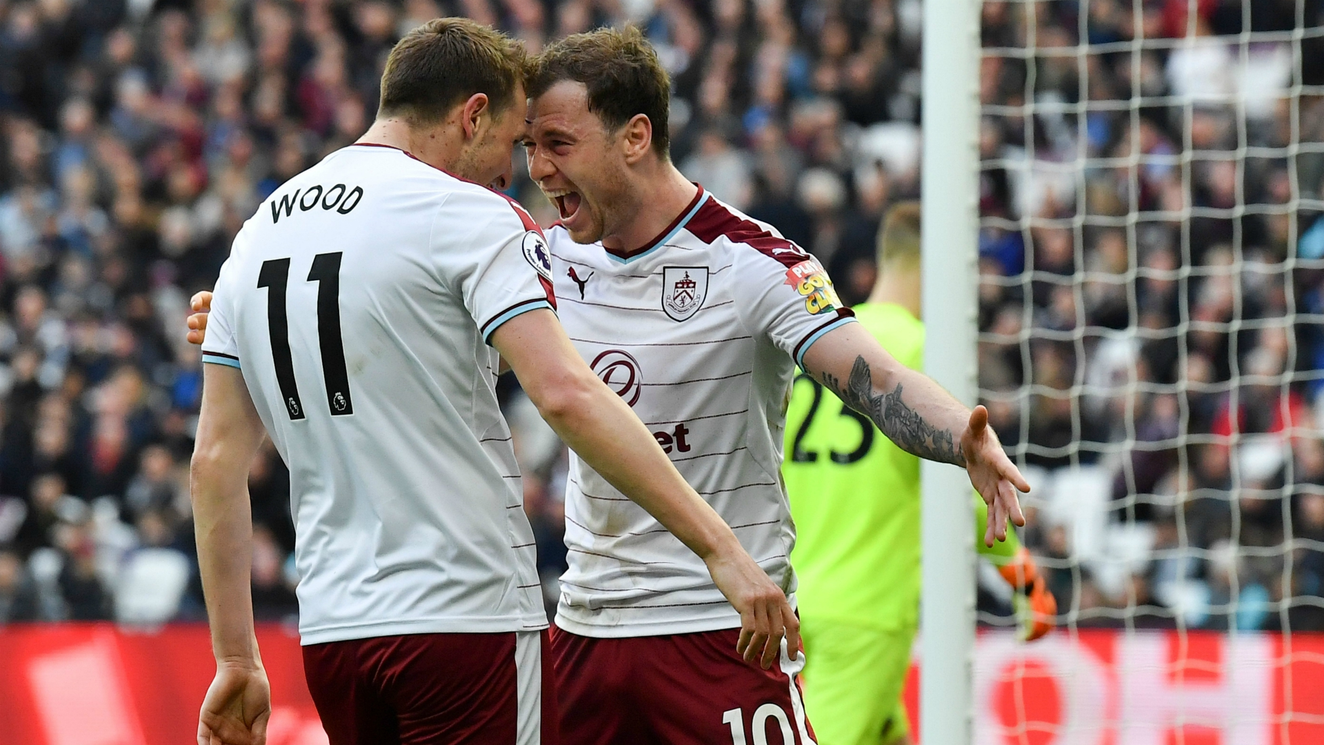 Ashley Barnes Chris Wood West Ham Burnley Premier League 03102018