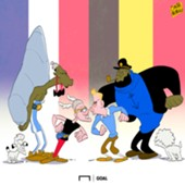 France vs Belgium cartoon