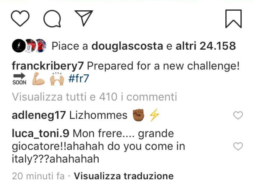 Screen commento Toni a Ribery
