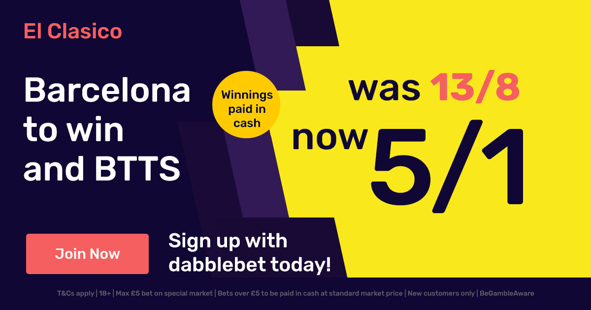 Barcelona Real Madrid BTTS dabblebet in article