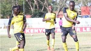 Tusker striker Timothy Otieno celebrates v Nzoia Sugar.j