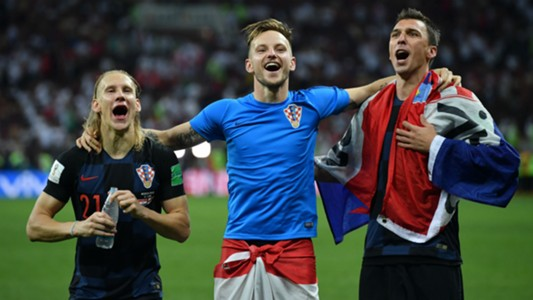 croatia england - vida rakitic mandzukic celebration - world cup - 11072018