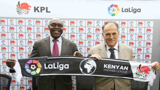 KPL Chairman Ambrose Rachier and LaLiga President Javier Tebas at the KPL offices
