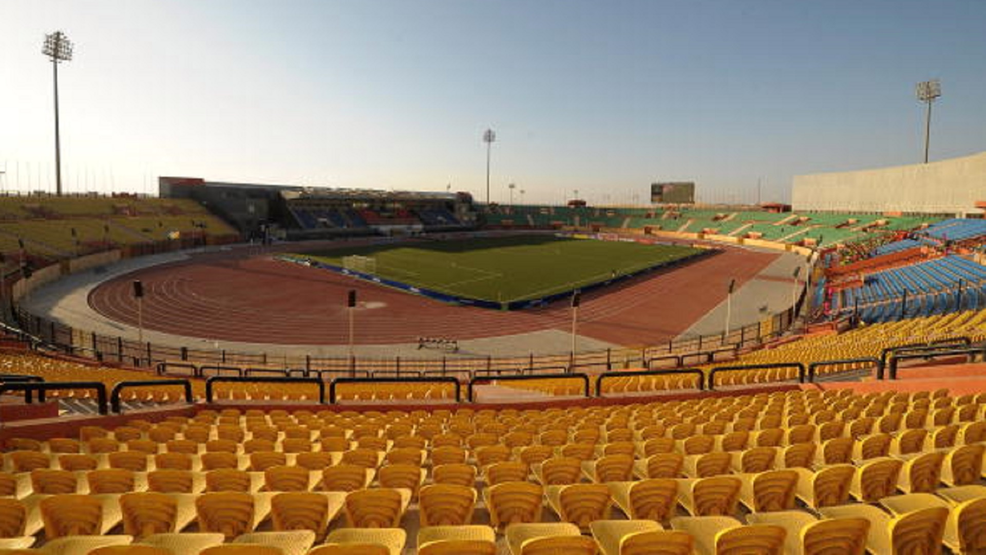 A general view of the outside of the Al Salam Stadium