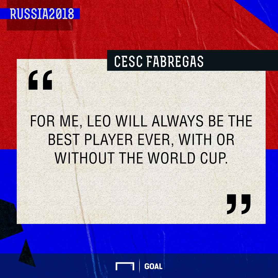 Lionel Messi best ever without World Cup Cesc Fabregas