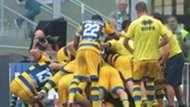 Parma celebrates Dimarco goal vs. Inter
