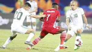 Ayub Timbe of Harambee Stars v Algeria.