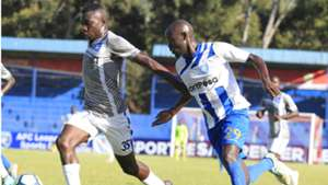 Eugine Ambulwa of Nakumatt v Ezekiel Odera of AFC Leopards.