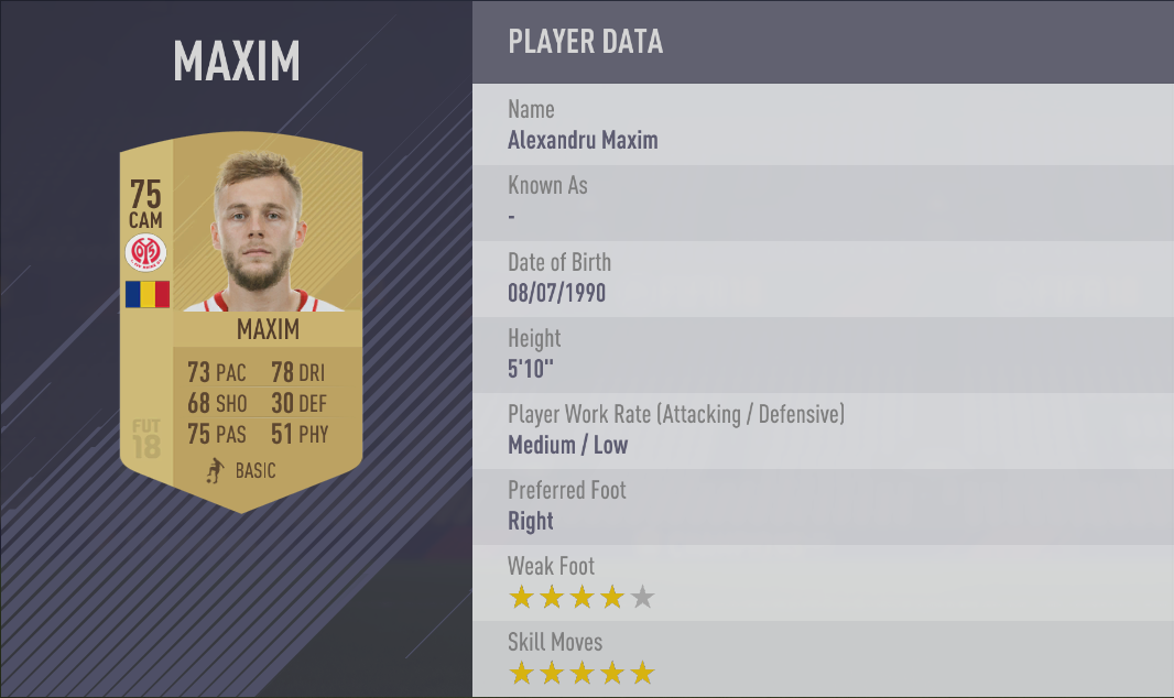 Alexandru Maxim FIFA 18 Skill Players