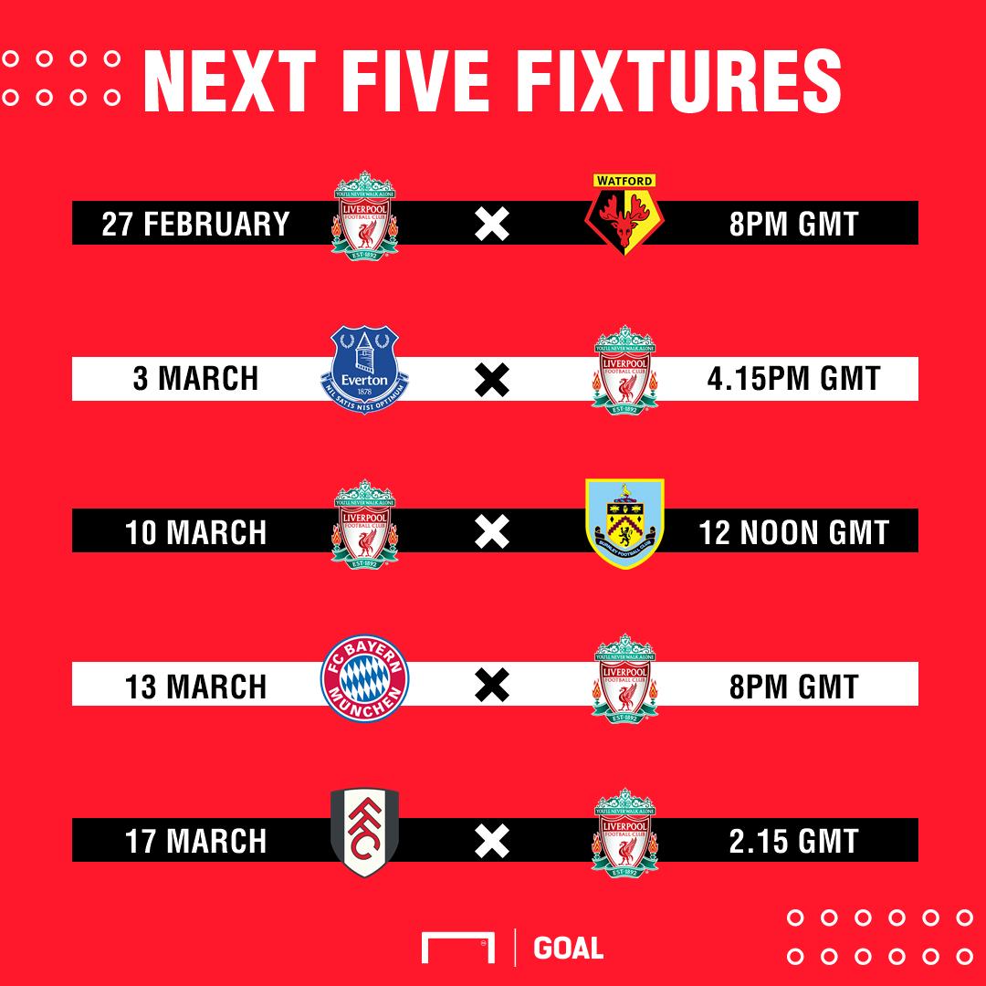 Liverpool's next five fixtures