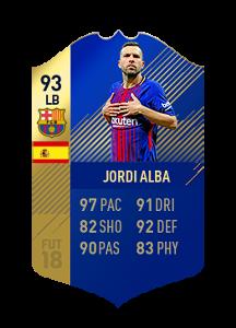 FIFA 18 La Liga Team of the Season Jordi Alba