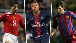 Ronaldo Mbappe Messi teenagers