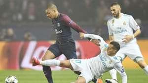 Kylian Mbappe Lucas Vazquez PSG Real Madrid Champions League 06032018