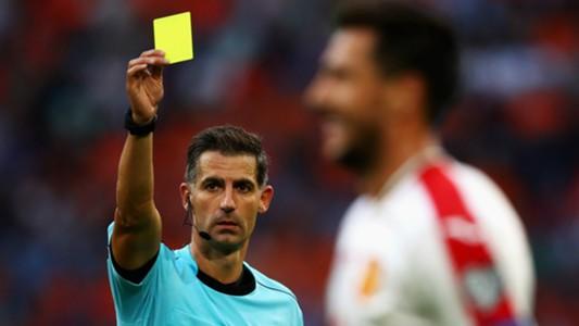 Referee Tasos Sidiropoulos Ivelin Popov Bulgaria FIFA 2018 World Cup Qualifier