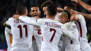 Roma celebrating vs Qarabag Champions League