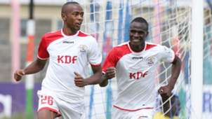 Daniel Waweru of Ulinzi Stars celebrate scoring with Enosh Ochieng.