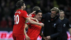 HD Emre Can Liverpool celebrate Klopp Lallana