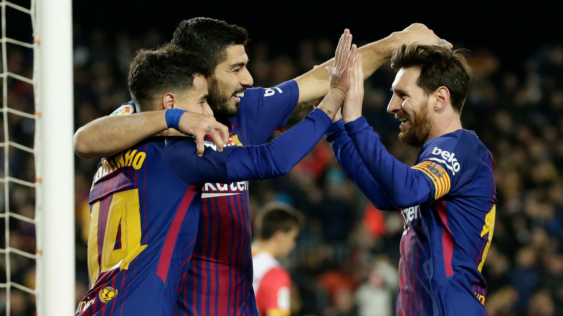 Philippe Coutinho Lionel Messi Luis Suarez Barcelona Girona La Liga
