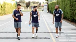 Luis Suarez Lionel Messi Arturo Vidal Barcelona 06082018