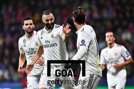 득점 후 기뻐하는 레알 마드리드 선수들(왼쪽부터 나초, 벤제마, 베일). 사진=게티이미지