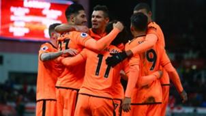 Liverpool celebrate Salah