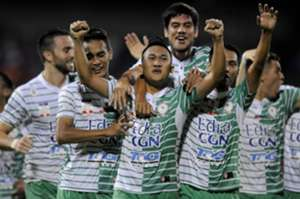 Melaka United players celebrating their goal against Selangor 27/1/2017