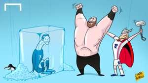 Cartoon: Cristiano Ronaldo frozen happy Hafþór Júlíus Björnsson
