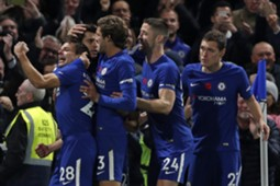 Chelsea players cerebrate Morata's goal