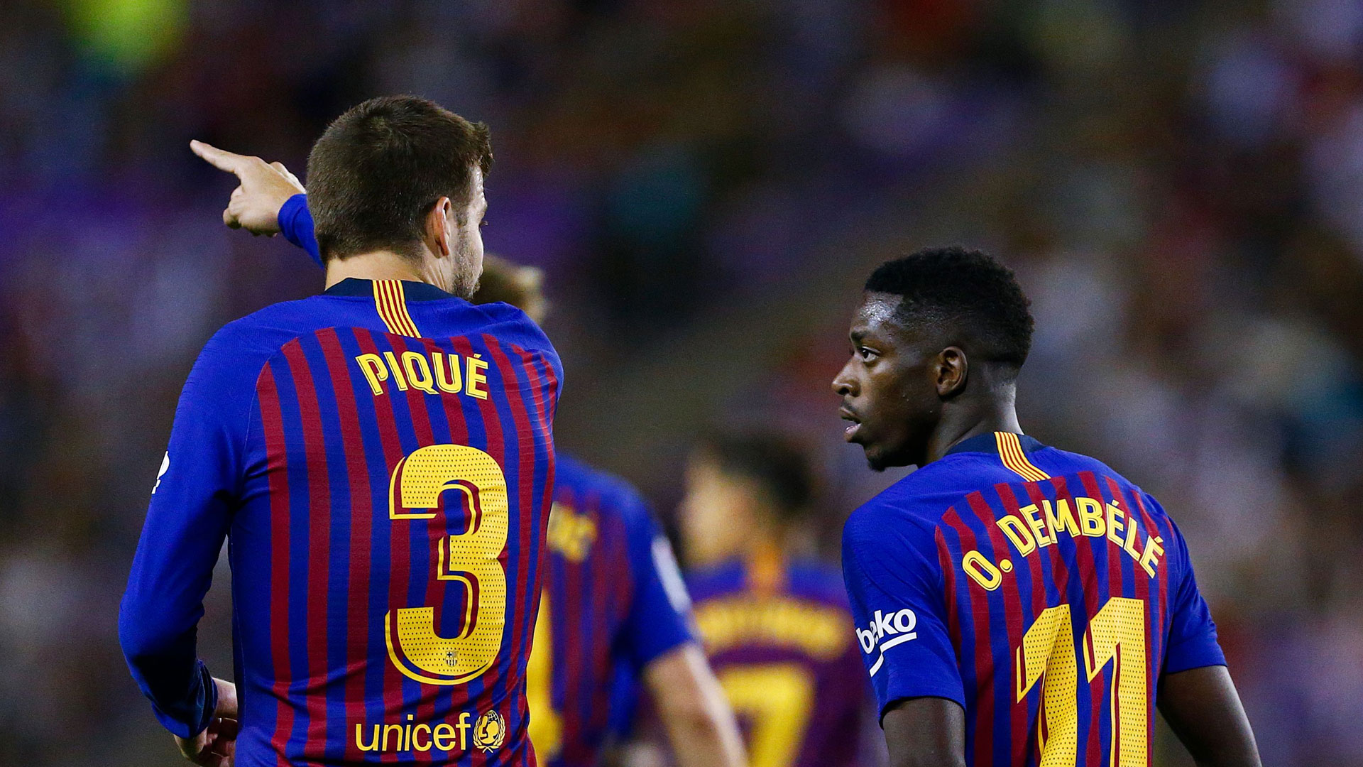 Gerard Pique Ousmane Dembele FC Barcelona 25082018